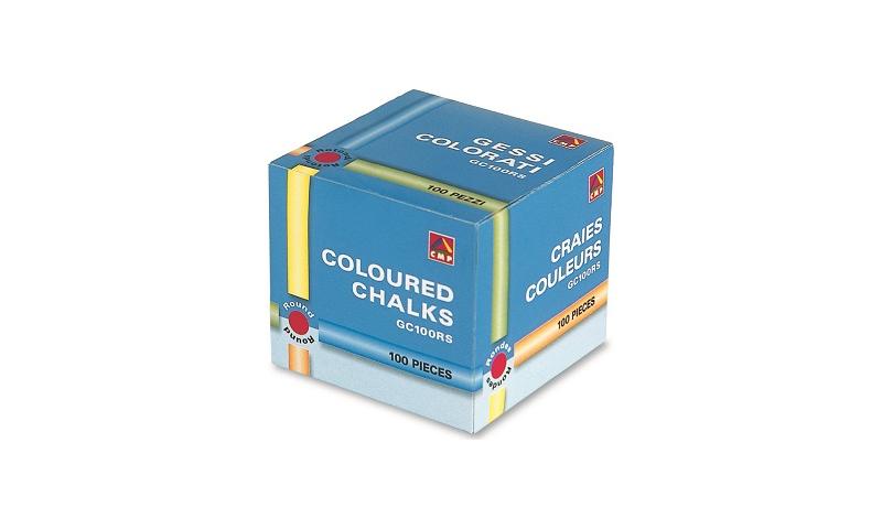 Primo Dustless Premium Round Coloured Chalk, Asstd 100 Sticks, 80mm: On Special Offer