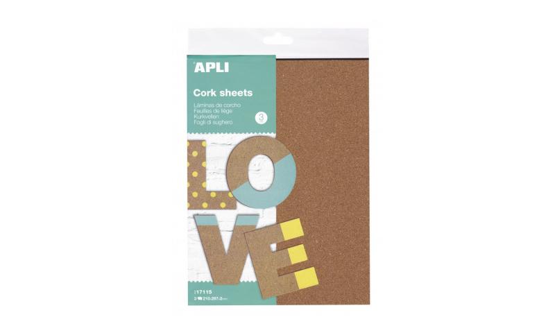 Apli Crafting A4 Cork Sheets 3pk