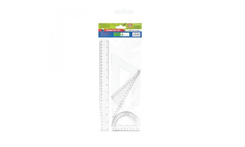 Starpak 30cm Geometry Set 4 Pce, Hangcarded