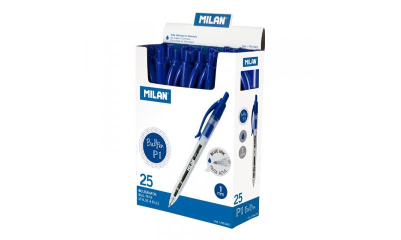Milan P1 Crystal Longlife Ballpens - Black, Blue or Red, Medium