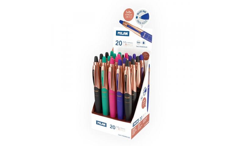Milan Capsule Copper Retractable Ballpens, 4 Asstd, Blue Ink (New Lower Price for 2021)