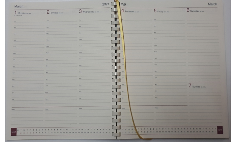 Quarto Spiral Weekly Diary Insert 2022, Cream Paper. Taking orders for 2022 Now