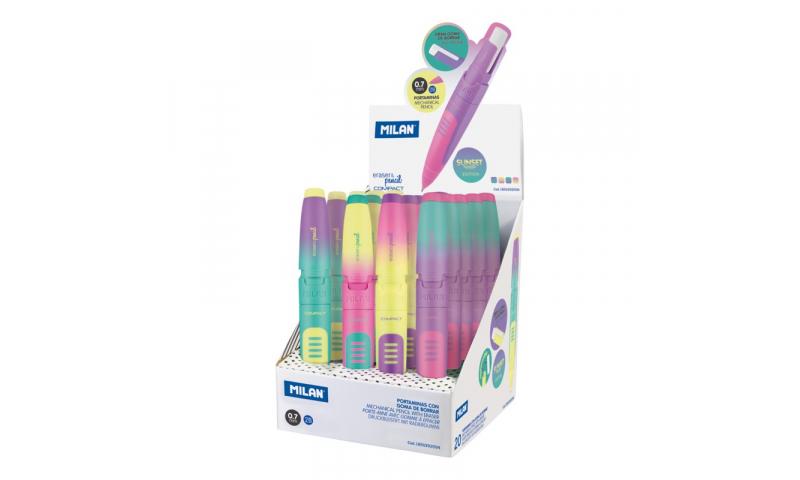 Milan Compact Sunset Eraser & Pencil 0.7mm 2B (New Design for 2021)