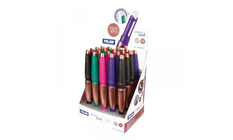 Milan Capsule Copper Slim 0.5mm Propelling Pencil & Large Eraser, 4 asstd