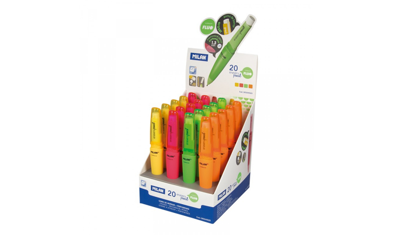 Milan Capsule Fluo Beginners Pencil & Eraser, 1.3mm 2B (New Lower Price for 2021)