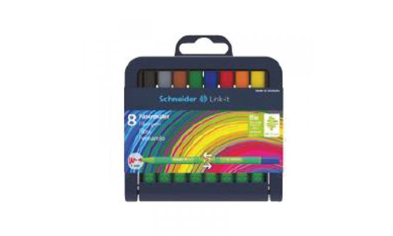 Schneider Link-It Biodegradable Fibrepen Stand up Deskset of 8 Pens