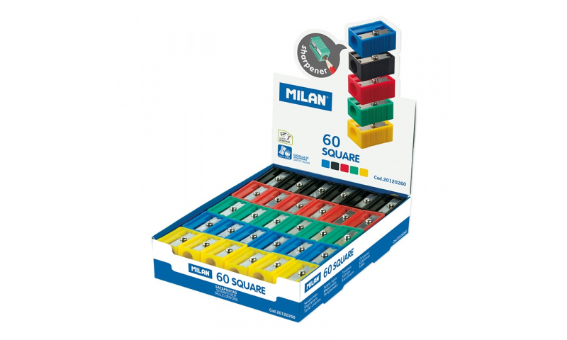 Milan Square Plastic sharpeners, Asstd colours.  (New Lower price for 2021)