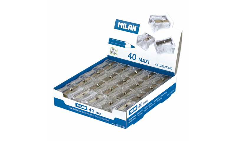 Milan Maxi Plastic Sharpeners for large pencils, Tranparent