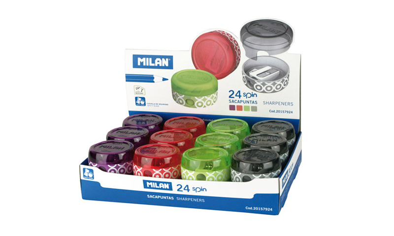 Milan Spin Canister Sharpeners, 4 Asstd colours (New Lower Price for 2021)