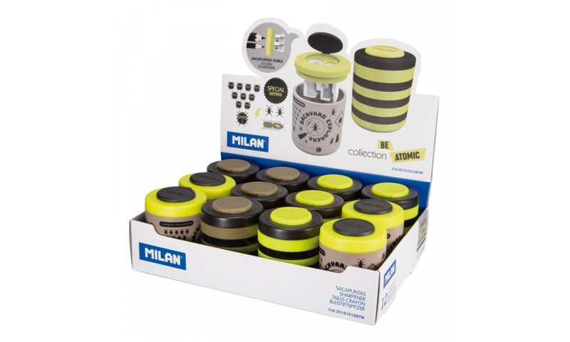 Milan Atomic Stripe Double Hole Canister Sharpener, 3 asstd, in CDU. (New Lower Price for 2021)