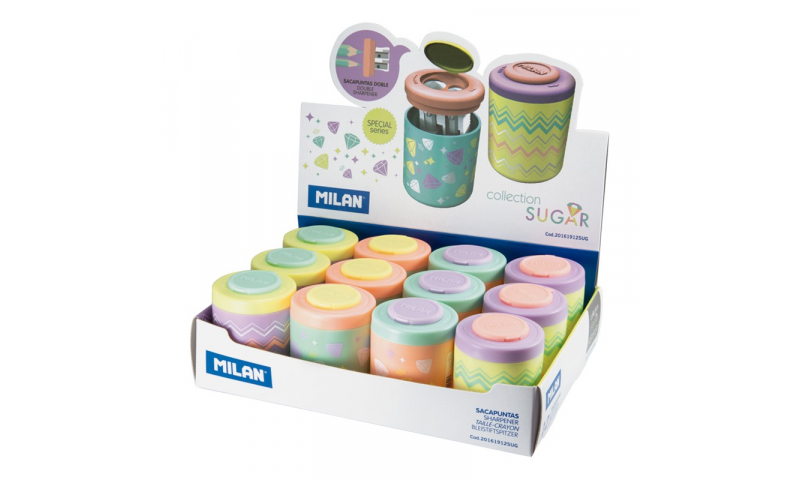 Milan Pastel Suger Diamond Double Hole Canister Sharpener, 4 asstd. (New Lower Price for 2021)