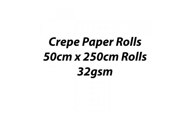 Heyda  Crepe Paper Rolls 50cmx250cm Roll, 32gsm Pack 10 - White