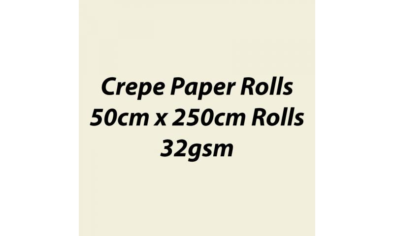 Heyda  Crepe Paper Rolls 50cmx250cm Roll, 32gsm Pack 10 - Cream