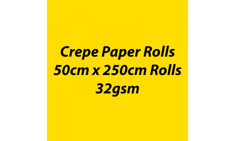 Heyda  Crepe Paper Rolls 50cmx250cm Roll, 32gsm Pack 10 - Yellow