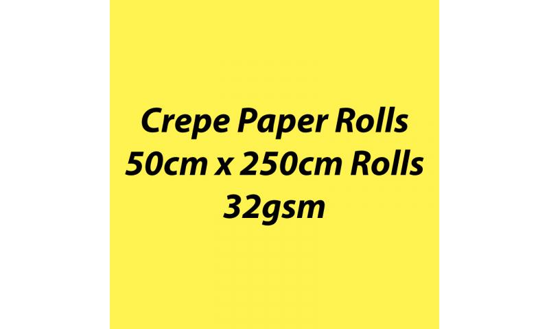 Heyda  Crepe Paper Rolls 50cmx250cm Roll, 32gsm Pack 10 - Lemon