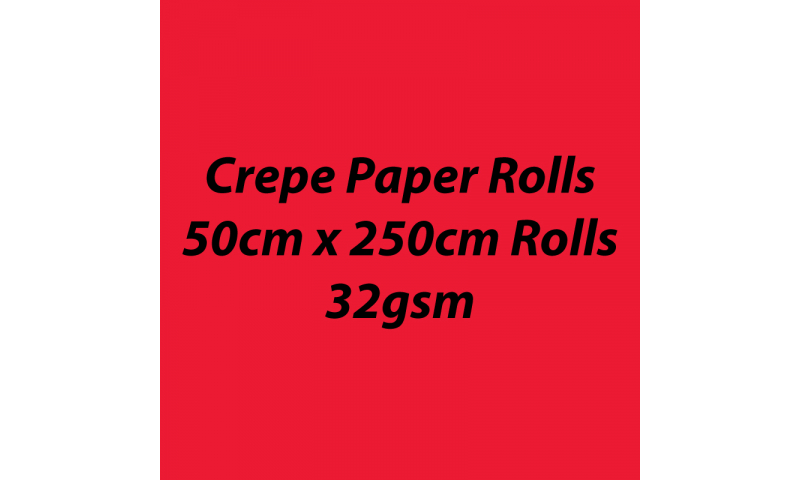 Heyda  Crepe Paper Rolls 50cmx250cm Roll, 32gsm Pack 10 - Light Red