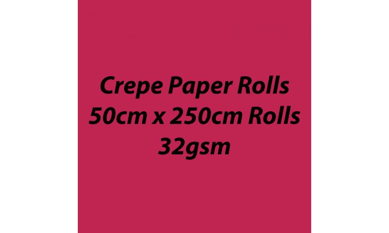 Heyda  Crepe Paper Rolls 50cmx250cm Roll, 32gsm Pack 10 - Poppy Red