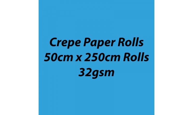 Heyda  Crepe Paper Rolls 50cmx250cm Roll, 32gsm Pack 10 - Aqua