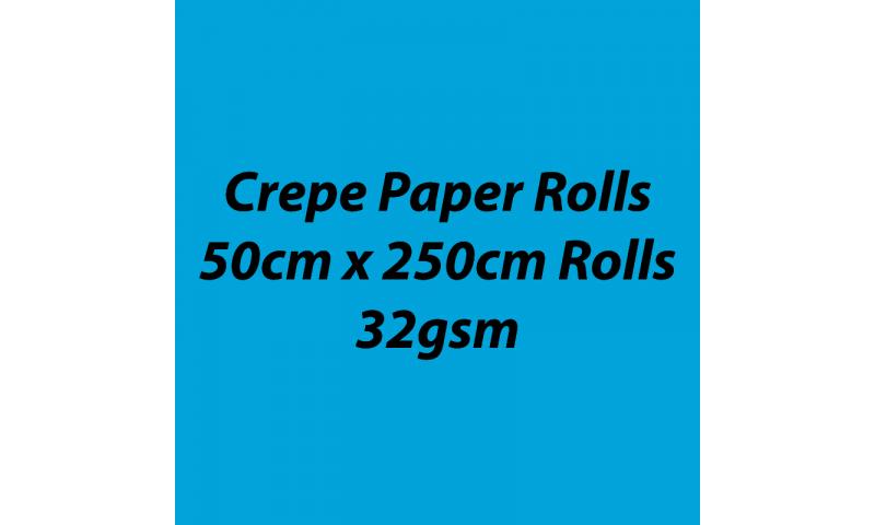 Heyda  Crepe Paper Rolls 50cmx250cm Roll, 32gsm Pack 10 - Sky Blue