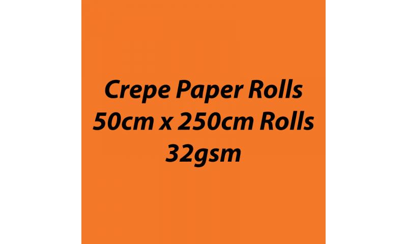 Heyda  Crepe Paper Rolls 50cmx250cm Roll, 32gsm Pack 10 - Orange