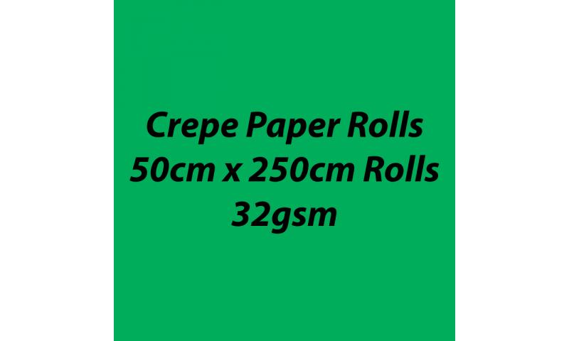 Heyda  Crepe Paper Rolls 50cmx250cm Roll, 32gsm Pack 10 - Green