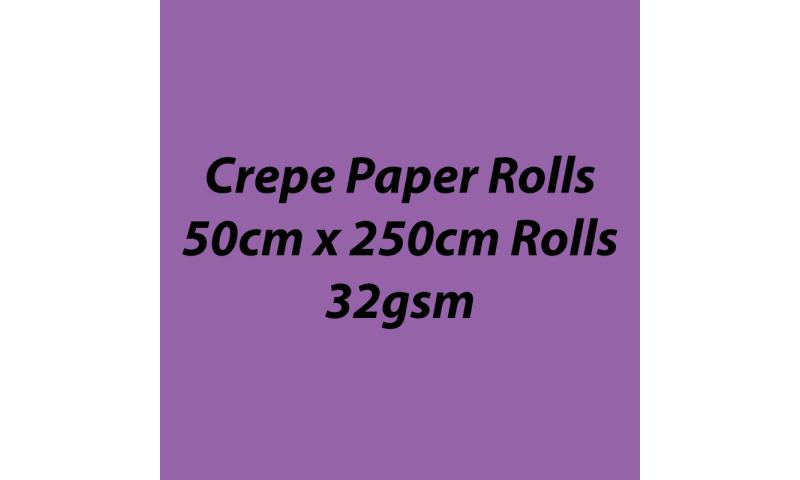 Heyda  Crepe Paper Rolls 50cmx250cm Roll, 32gsm Pack 10 - Light Violet