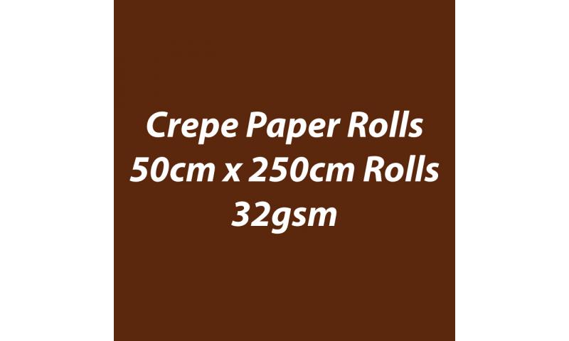 Heyda  Crepe Paper Rolls 50cmx250cm Roll, 32gsm Pack 10 - Brown