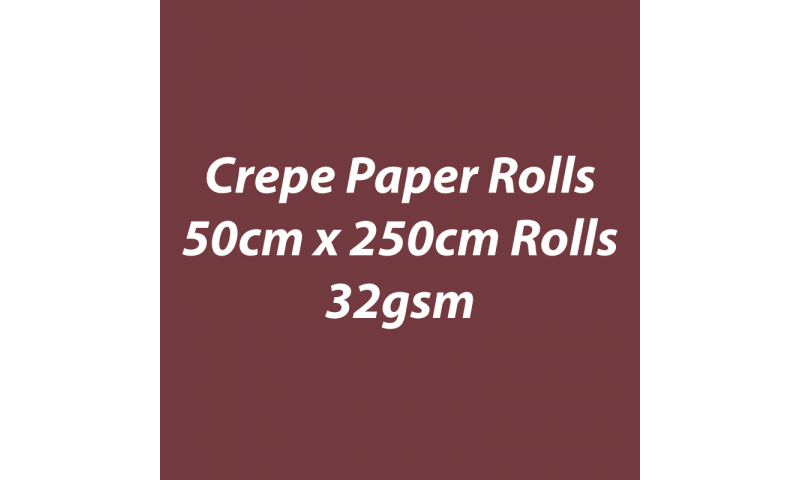 Heyda  Crepe Paper Rolls 50cmx250cm Roll, 32gsm Pack 10 - Coffee