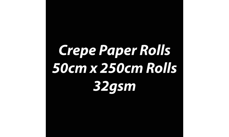 Heyda  Crepe Paper Rolls 50cmx250cm Roll, 32gsm Pack 10 - Black