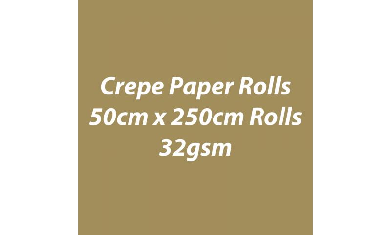 Heyda  Crepe Paper Rolls 50cmx250cm Roll, 60gsm Pack 10 - Gold