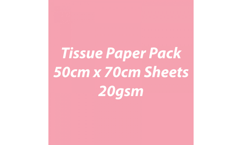 Heyda Tissue Paper Pack 50x70cm Sheets, 20 gsm, Pack 5 Sheets - Rose