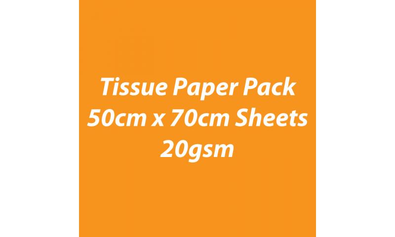 Heyda Tissue Paper Pack 50x70cm Sheets, 20 gsm, Pack 5 Sheets - Orange