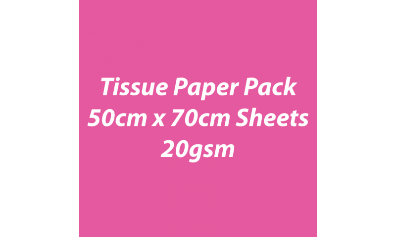 Heyda Tissue Paper Pack 50x70cm Sheets, 20 gsm, Pack 5 Sheets - Pink
