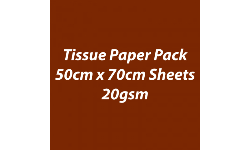 Heyda Tissue Paper Pack 50x70cm Sheets, 20 gsm, Pack 5 Sheets - Brown