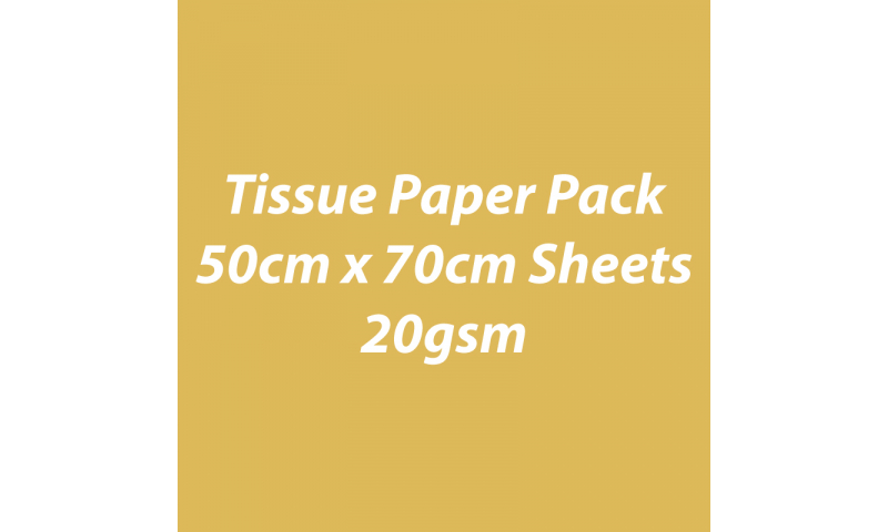 Heyda Tissue Paper Pack 50x70cm Sheets, 20 gsm, Pack 5 Sheets - Gold on 1 Side