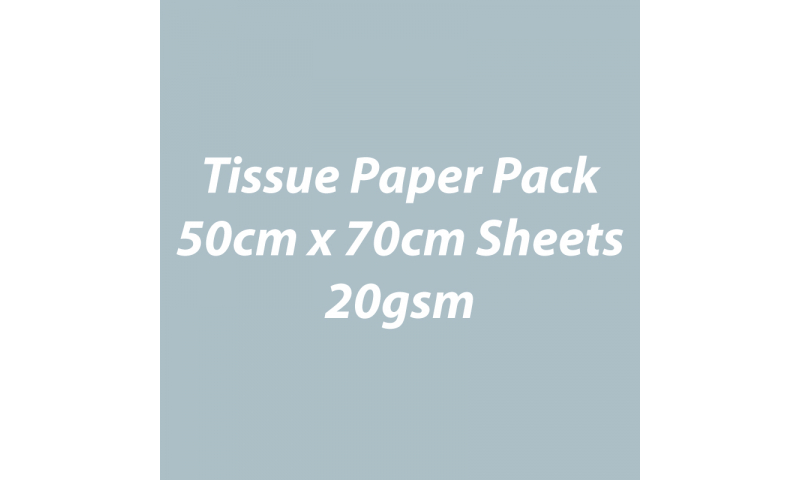 Heyda Tissue Paper Pack 50x70cm Sheets, 20 gsm, Pack 5 Sheets - Silver on 1 Side