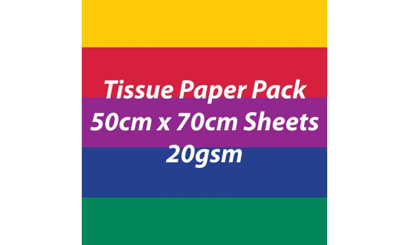 Heyda Tissue Paper Pack 50x70cm Sheets, 20 gsm, Pack 5 Sheets - Dark Colours Asstd