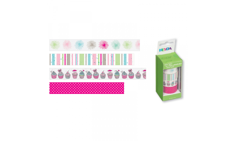 Heyda Deco Tapes Box 5 Asstd Tapes - Pompons Pastel
