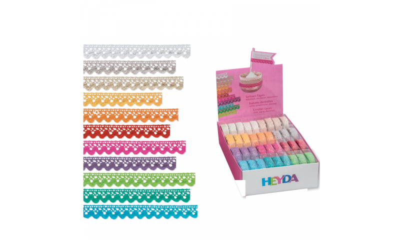 Heyda Lace Tape, 11 Asstd Colours, 15mm x 2M in Dispenser