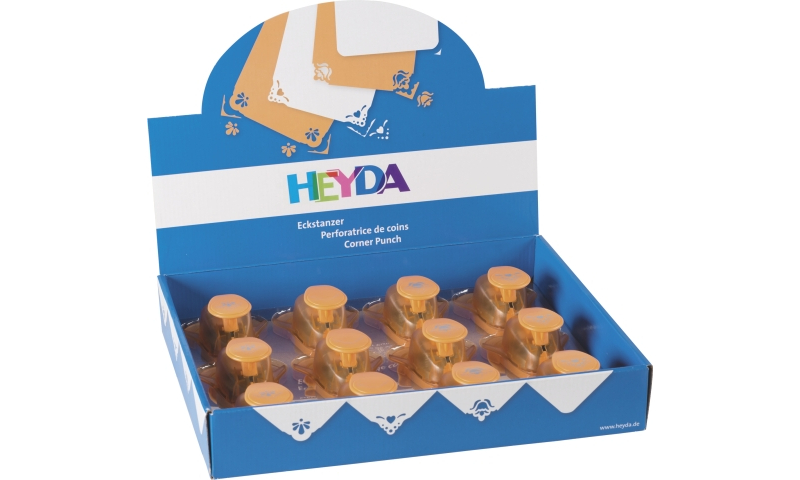 Heyda Lever Craft Punches, Display 12 assorted Corner designs.  (New Lower Price for 2021)