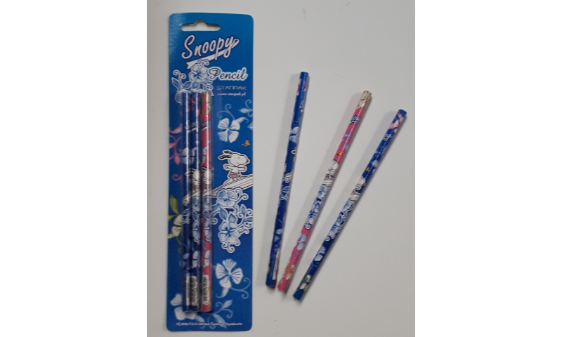Snoopy Licensed HB Triangular Pencils 3 Pack Carded (New Lower Price for 2021)