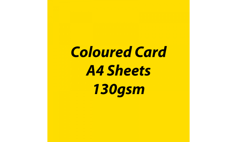 Heyda 100% Recycled Coloured Card  A4 130 gsm barcoded 100 sheets-Yellow