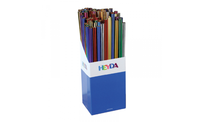 Heyda Aluminium Xmas Foil  50x78cm Rolls, 70gsm Display 100 -  10 Asstd Colours.  (New Lower Price for 2021)
