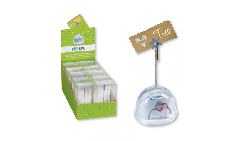 Heyda Clip Insertable Snow Globes, Display of 10