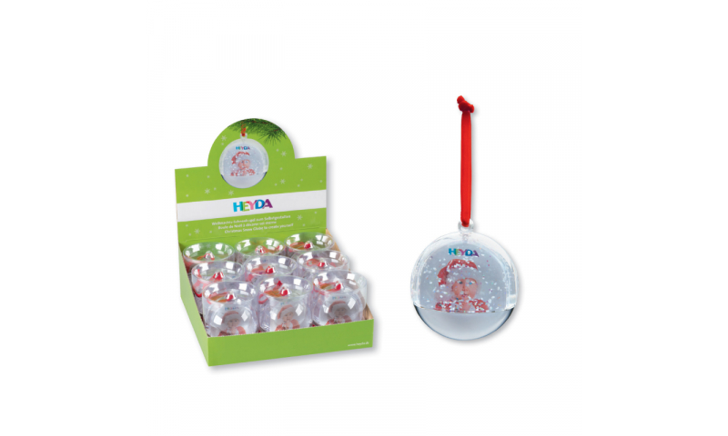 Heyda Xmax Hanging insertable Snow Baubles, Display of 9