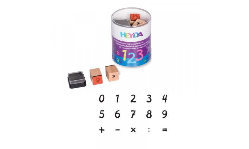 Heyda Wooden Stamp set - 15 Numbers & symbols + Black stamp pad