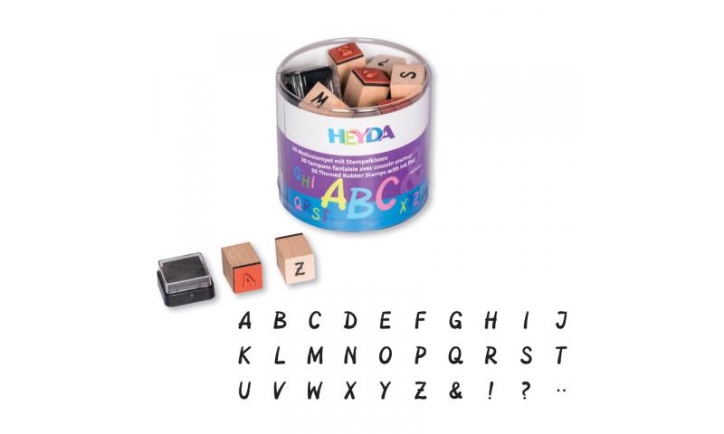 Heyda Wooden Stamp set - 30 Letters & Symbols + Black stamp pad