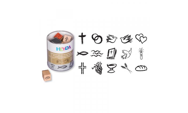 Heyda Wooden Stamp set - 15 Spirit Motifs + Black stamp pad