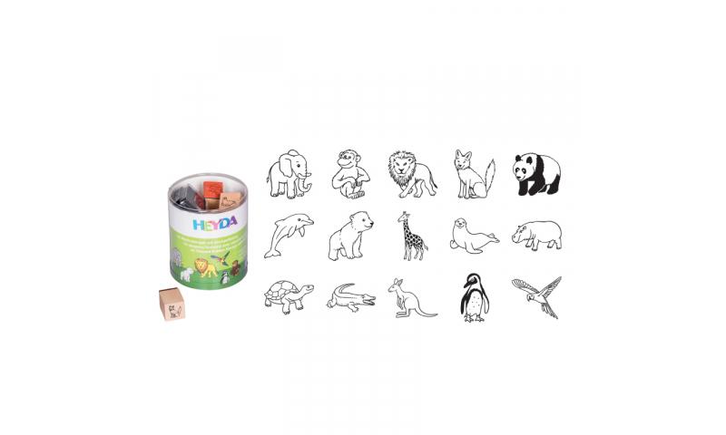 Heyda Wooden Stamp set - 15 Zoo Animals + Black stamp pad