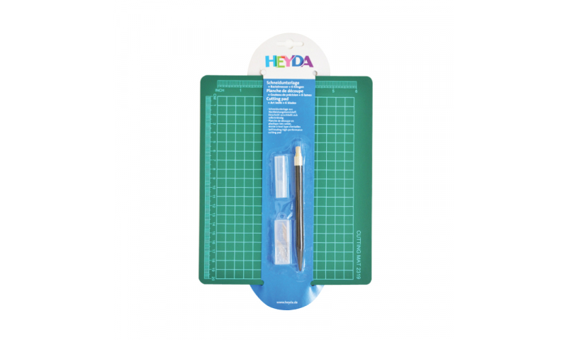 Heyda 19 x 23cm Cutting Mat, Craft Knfe & blades in hanging pack